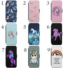 Cute Unicorn Rainbow Horse Pattern Print WALLET FLIP PHONE CASE COVER FOR IPHONE