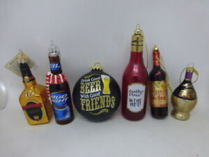 Lot of 6 Glass Drinking Christmas Ornaments Bud Light Beer Wine Chianti Whiskey