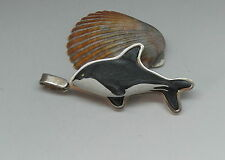 Vintage SERGIO BUSTAMANTE Style Signed Sterling Silver Black & White Dolphin Pen