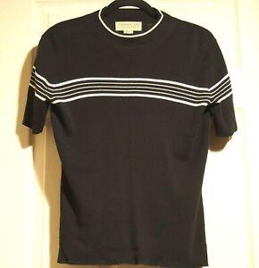 Jones New York Black knit sweater jumper pullover top white stripe size S blend