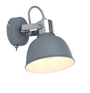 Grey Shade Single Wall Bedside Spot Light Adjustable Toggle Switch E14 Fitting