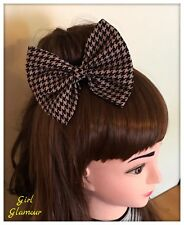 Hair Bow Brown and Black Houndstooth Check Fabric - Headband Ponytail Tie Band
