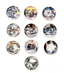 10 Franklin Mint HARLEY-DAVIDSON Ltd Ed Collectors Painted Porcelain Plates