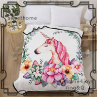 Unicorn Bedding Blanket Warm Flannel Throw Blanket for Bed Twin Flower White