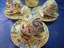 Shelley  (THREE SETS)  BLUE PAISLEY CHINTZ RIPON CUP AND SAUCERS  - GOLD TRIM