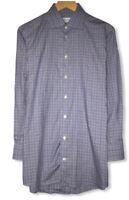 Eton Men's Sz 40/15.75 Contemporary Fit Blue Check Button Front Dress Shirt euc