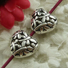 free ship 30 pieces Antique silver heart hollow spacer beads 15x15mm #2730
