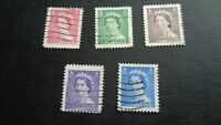 Canada, Briefmarke, Stamp, 1953, Queen Elisabeth II, 5 Marken gestempelt