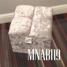 CRUSHED VELVET SILVER 1 DIAMOND OTTOMAN STORAGE FOOTSTOOL BOX 16 BY 16 BY 16