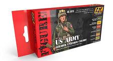 AK Interactive AKI 3070 Figure Series: US Army Soldier Uniform Paint Set