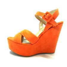 Sandalo Donna Vera Pelle scamosciata Zeppa 120 plateau arancio Made In Italy
