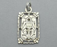 Eucharist. Chalice, Communion. Antique Religious Sterling Pendant. French Medal.