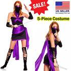 5PC Sexy Adult Black/Purple Samurai Ninja Halloween Costume Mini Dress Set S-XL
