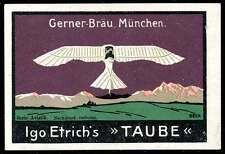 "Germany Poster Stamp - Adv. Gerner-Bräu Beer - Aviatik - Igo Etrich's ""Taube"""