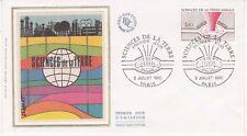 Enveloppe maximum 1er jour FDC Soie 1980 Sciences de la Terre