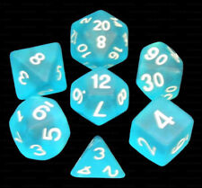 7 Piece Polyhedral Dice Set - Frosted Translucent Turquoise - Turquoise Bag