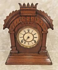 Ansonia Oak Mantel Clock Running? Wire Gong Strike