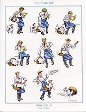 """FOX TERRIER JACK RUSSELL DOG ANTIQUE COMIC ART PRINT  - """"Who Dun It"""" G. Ambler"""