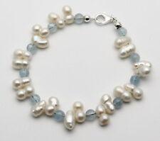 Perlen-Armband mit Aquamarin für Damen in 20 cm Länge von Gemini Gemstones