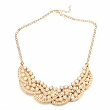 New Vintage Imitation Pearl Hollowed Golden Choker Bib Collar Necklace