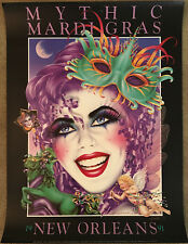 """Mardi Gras Poster 1991 Mythic New Orleans Andrea Mistretta 24"""" x 32"""" Autographed"""