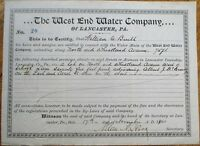 'West End Water Company, Lancaster, PA' 1911 Stock Certificate #20- Pennsylvania