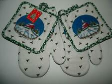 New listing Church Xmas Snowman Oven Mitts Pot Holders Holly Kitchen Set of 4 Red Barn New