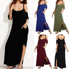 ZANZEA Women Summer Spaghetti Straps Beach Party Split Long Maxi Shirt Sun Dress