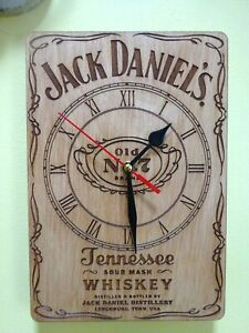 Jack Daniels Bottle Wall Clock  engraved on wood A4 size man cave gift item