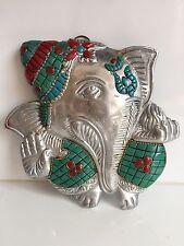Ganesha Multicolour Wall Hanging Stone Work Ganesh Elephant Face Hinduism God