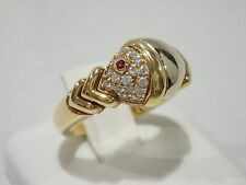 bvlgari 18k gold naturalia ring with ruby u0026 diamond size 6