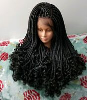 Fully Handmade Goddess Box Braids Swiss Lace Front Wig With Curly Ends Color 1b