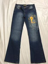 Lot29 Size 7 Looney Tunes Tweety Bird Blue Jeans Distressed Adorable EUC