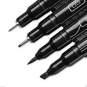 PRISMACOLOR 4-Pack Assorted Tip Markers - Black - .005, .05, Brush, Chisel