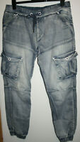 Voi Jeans Co Thornt Men's Light Blue Constructed Leg Cuffed Cargo Jeans W36 L32