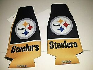 Pittsburgh Steelers NFL Flat Zip Up Bottle Koozie (set of two )