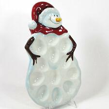 "Tabletops Gallery WINTERLAND 14"" Deviled Egg Plate Platter Dozen Figural Snowman"