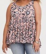 Torrid Pink Floral Chiffon Lace Up Tank 1X 14 16 #94933