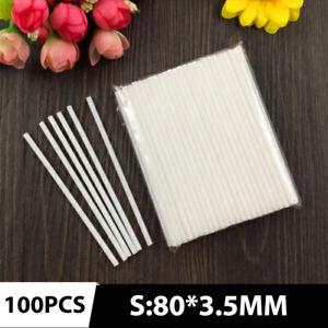 100 Plastic Lollipop Sticks Food Grade White Tube Candy Baking Plastic Sticks