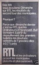 PUBLICITÉ 1971 RTL DÈS 18H ÉCOUTEZ LES RÉSULTATS DU SECOND TOUR DES MUNICIPALES