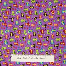 Baby Fabric - Multicolor Monkey Toss on Purple - Marcus Brothers Cotton 32""