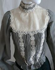 1880s Blouse Victorian Grey Wool Blouse with Silk  Appliques