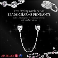 Silver Safety Chain 925 Sterling Silver Diamond Charm Ladies European Bracelet