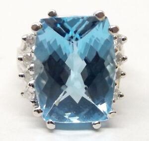14K White Gold Blue Topaz Ring Sz 6 Diamond .24 Carat Cocktail Large Stone