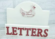 Letter Rack Chicken Hen Home Sweet Home Cream and Red Freestanding Wooden F1161