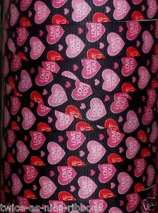 """5 yds 7/8"""" VALENTINE CONVERSATION HEARTS LOVE YOU GROSGRAIN RIBBON 4 HAIRBOW BOW"""