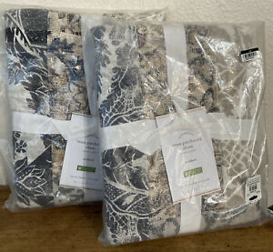 2 Pottery Barn GrayTessa Handcrafted Cotton/Linen Patchwork Shams Standard