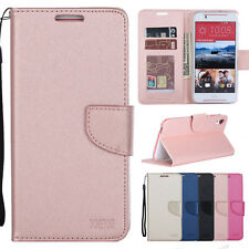 Luxury Leather Wallet Case Flip Cover Card Slots Strap Kickstand For HTC Series