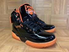 RARE🔥 Patrick Ewing 33 Basketball Shoes Black Patent Leather Total Orange Sz 10