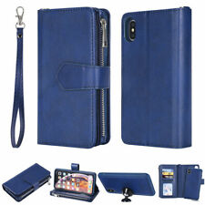 For iPhone XS Max XR X 7 8 6 6s Plus Leather Removable Zipper Wallet Case Purse